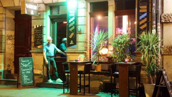 Saxxim mit Pflanzen vor der Tür.