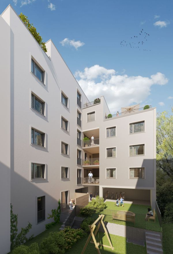 Projekt Katharinenstraße, Hofseite - Architekturdarstellung: basisd GmbH