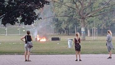 Sofabrand auf dem Alaunplatz