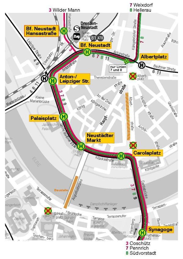 Die geplanten Straßenbahnumleitungen. Grafik: DVB