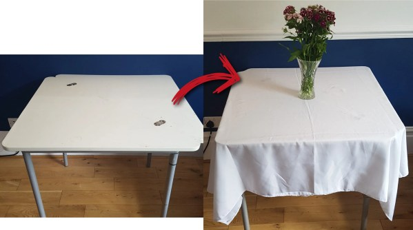 white L cloth table comparison