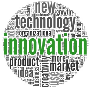 Innovation and technology and product concept related words in tag cloud on white