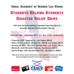 Coral Academy of Science Las Vegas, announced that its campuses will hold a gift card drive over the next few months to support Houston-area schools