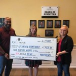 Pictured from (L-R) Larry Hartman,  CCMC Providence community manager; Michelle Hagge, Operation Homefront; Jenna Mooney, CCMC Providence Lifestyle Director