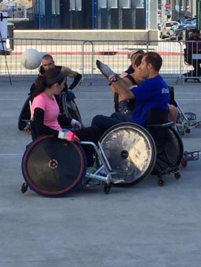Council Member playing wheelchair rugby at the 2015 Disability Awareness Festival