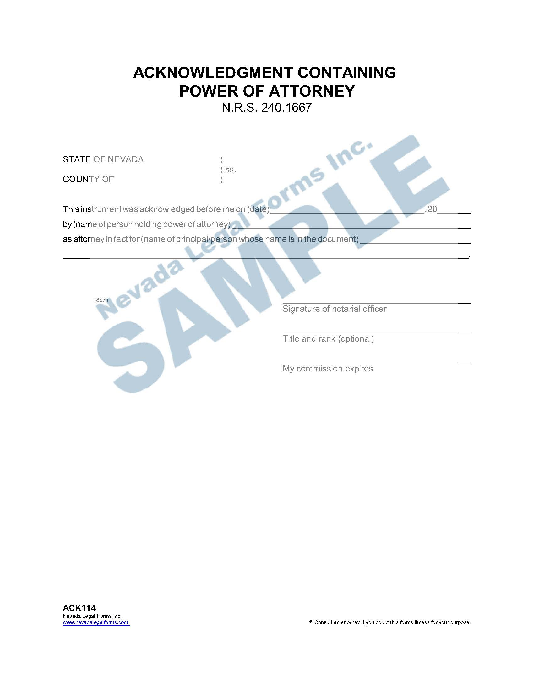 Acknowledgment Containing Power Of Attorney