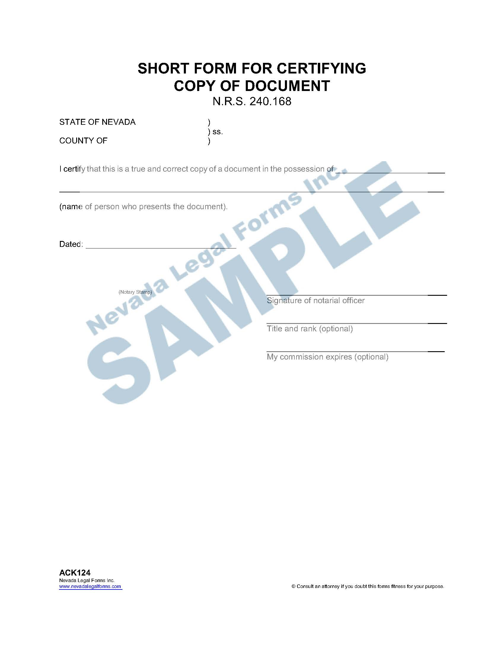 Short Form For Certifying Copy Of A Document
