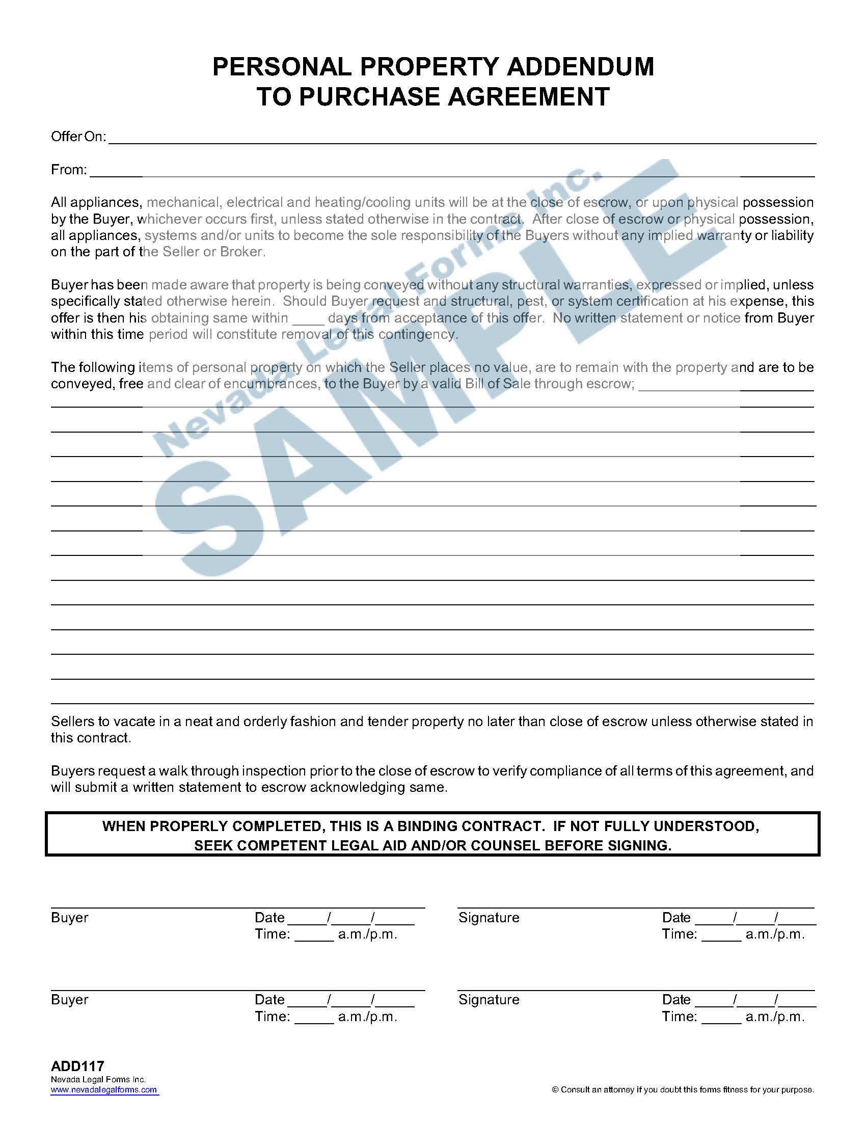 Personal Property Addendum To Purchase Agreement