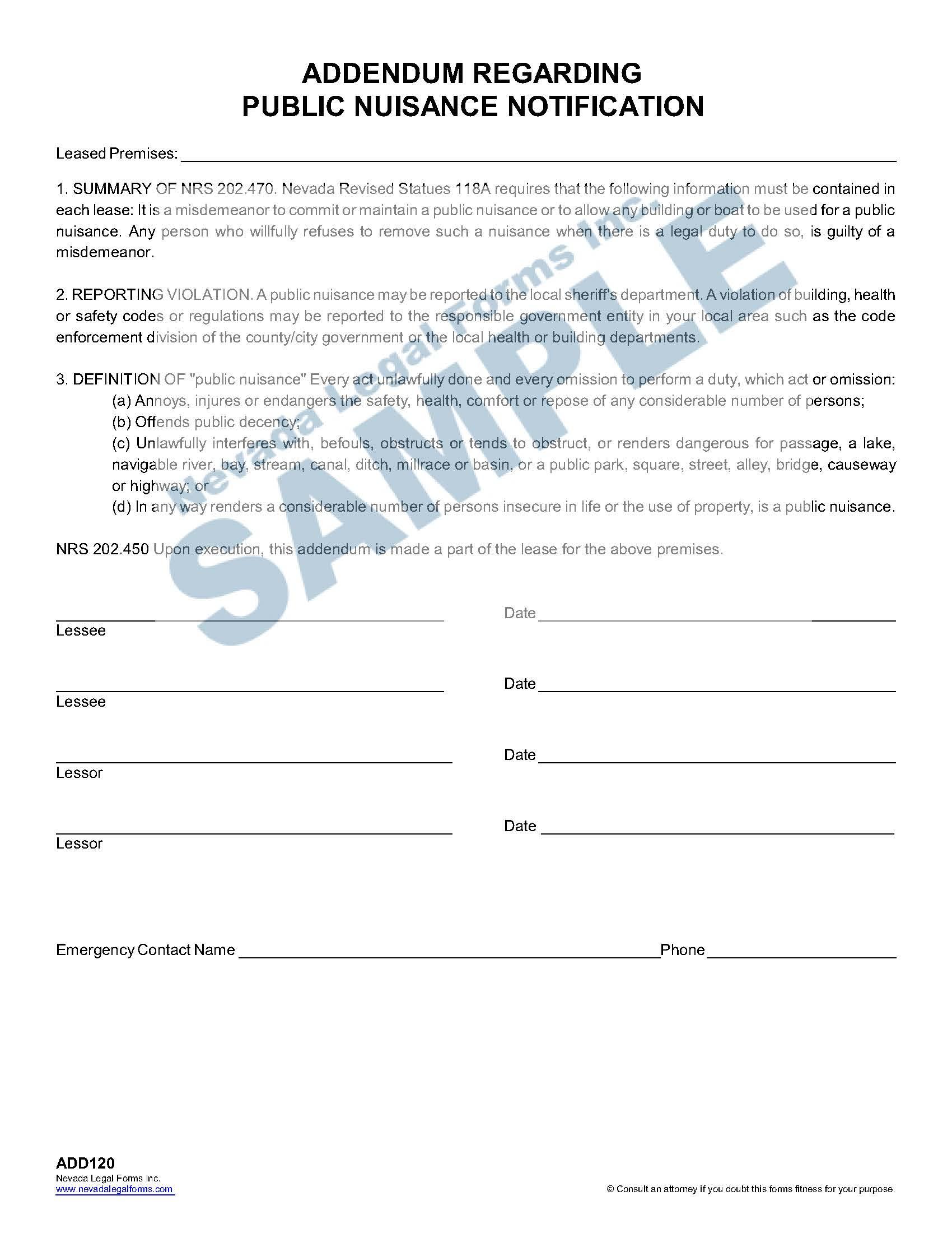 Addendum Regarding Public Nuisance Notification