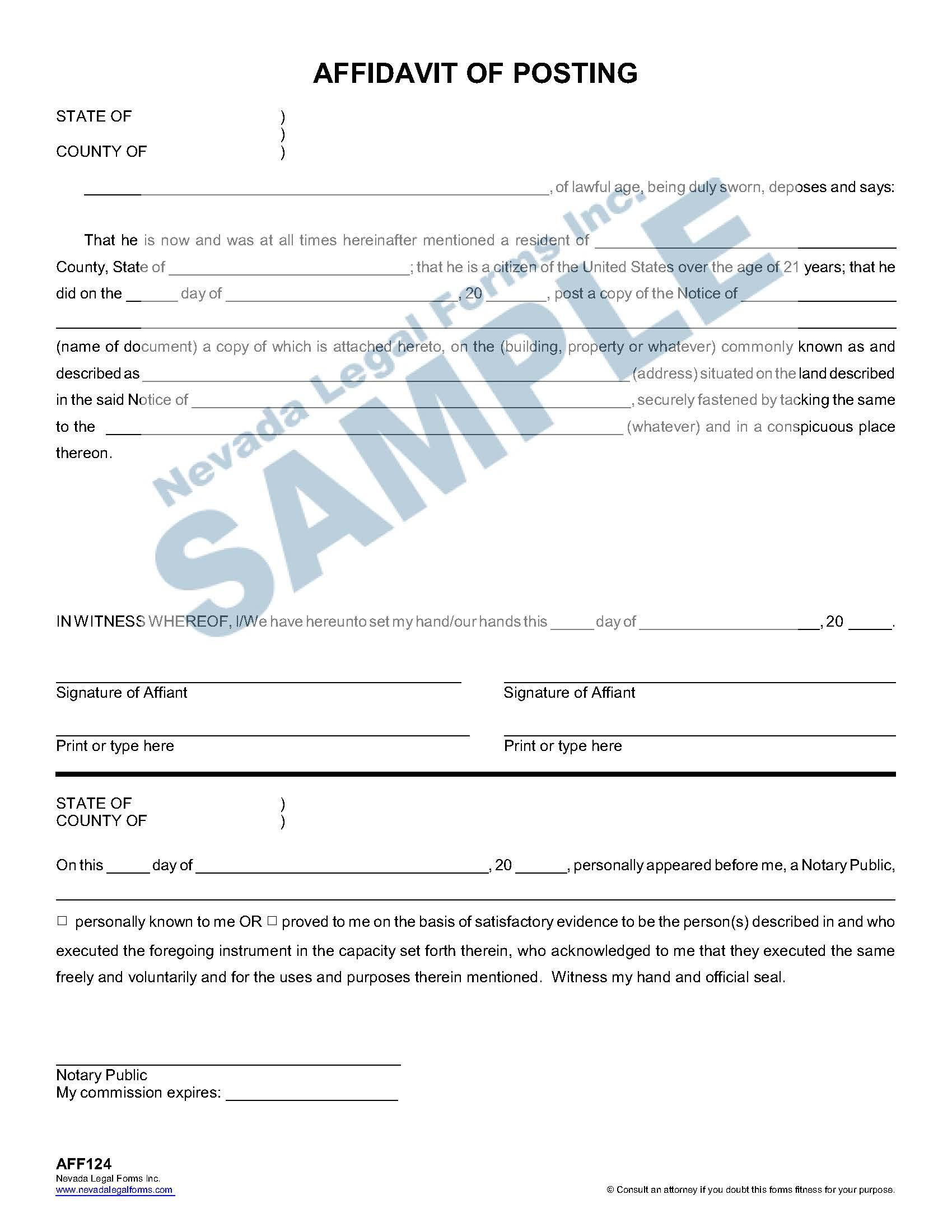Affidavit Of Posting
