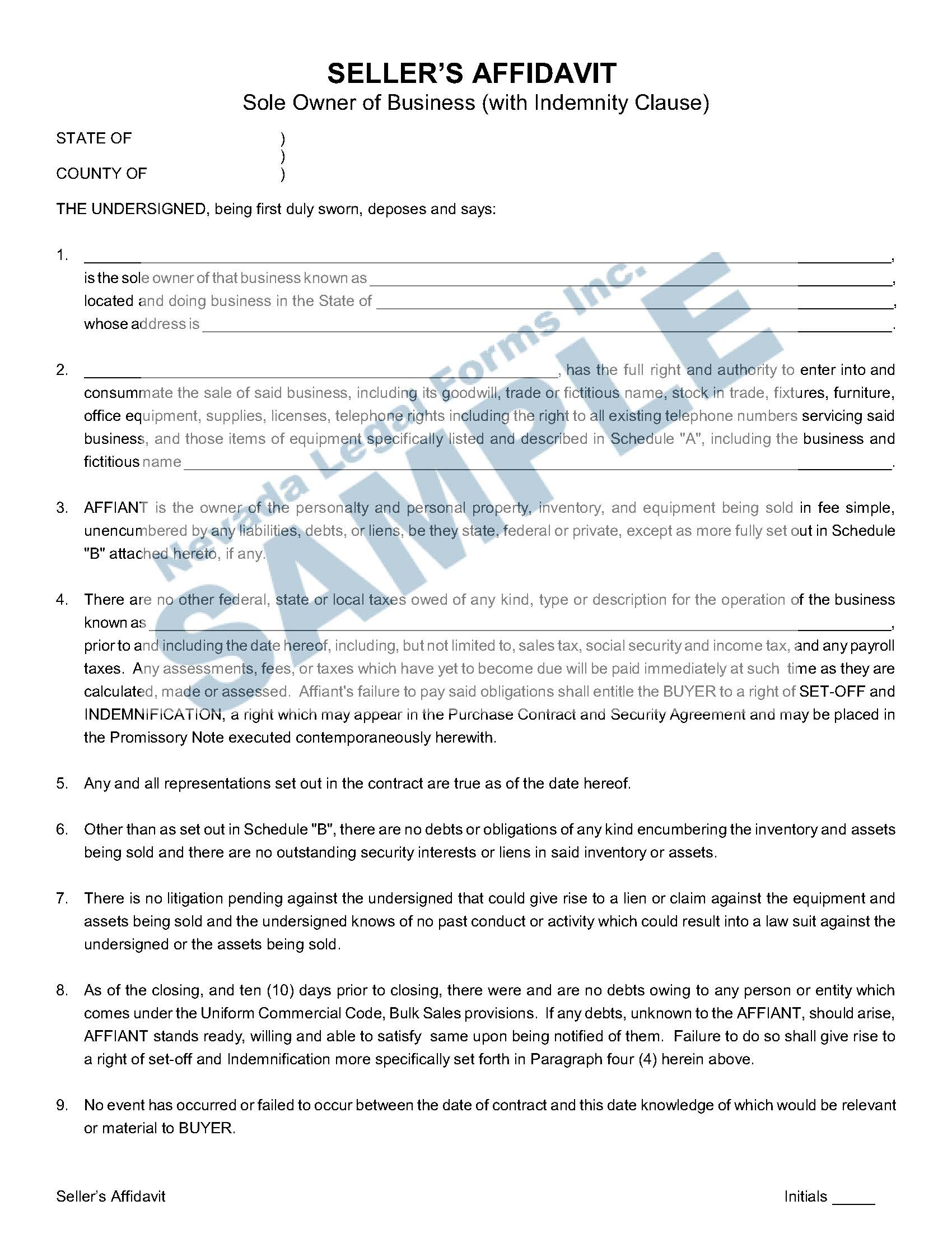 Seller S Affidavit Sole Owner With Indemnity Clause