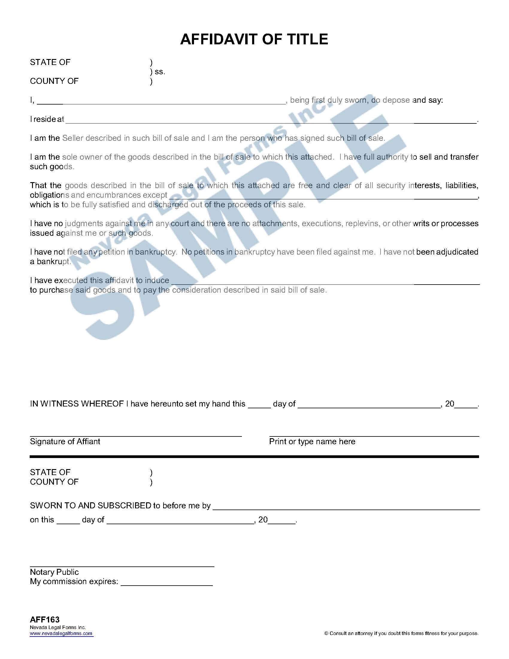 Affidavit Of Title