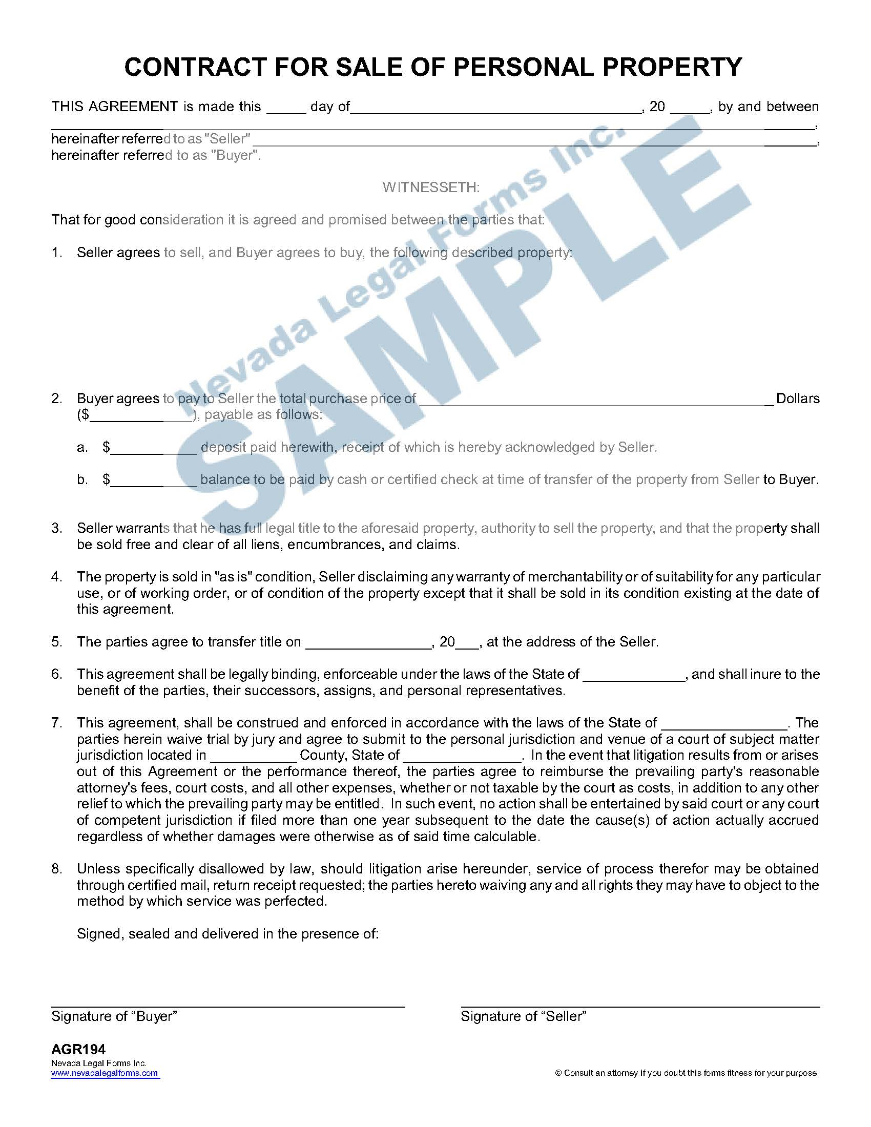 Contract For Sale Of Personal Property
