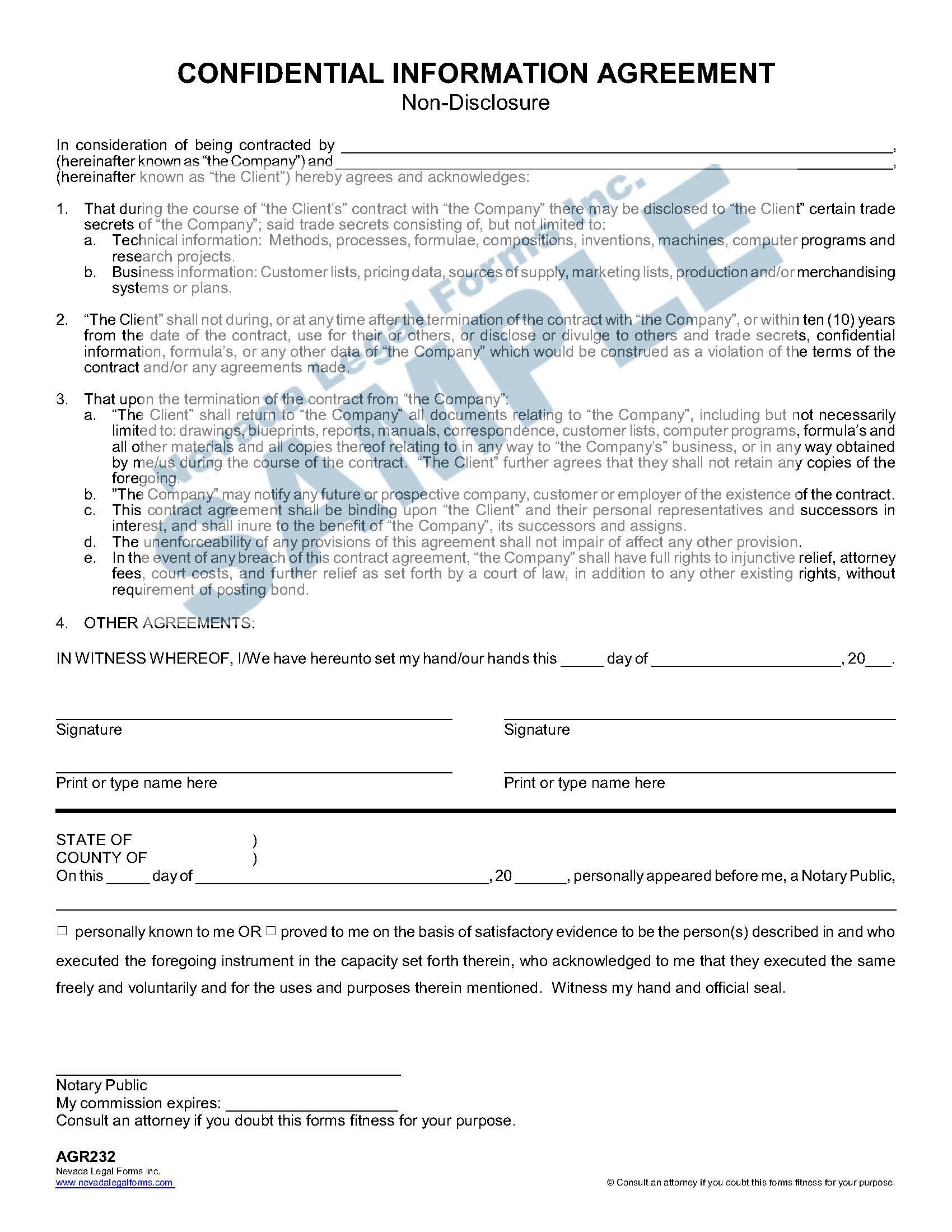 Confidential Information Agreement Non Disclosure