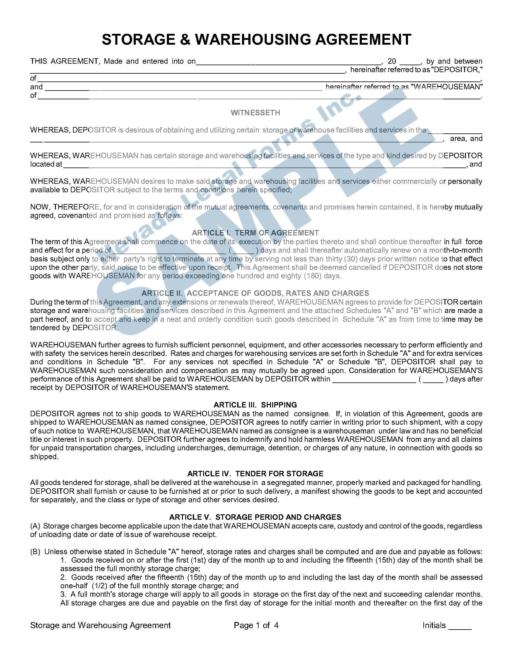 Storage Amp Warehousing Agreement