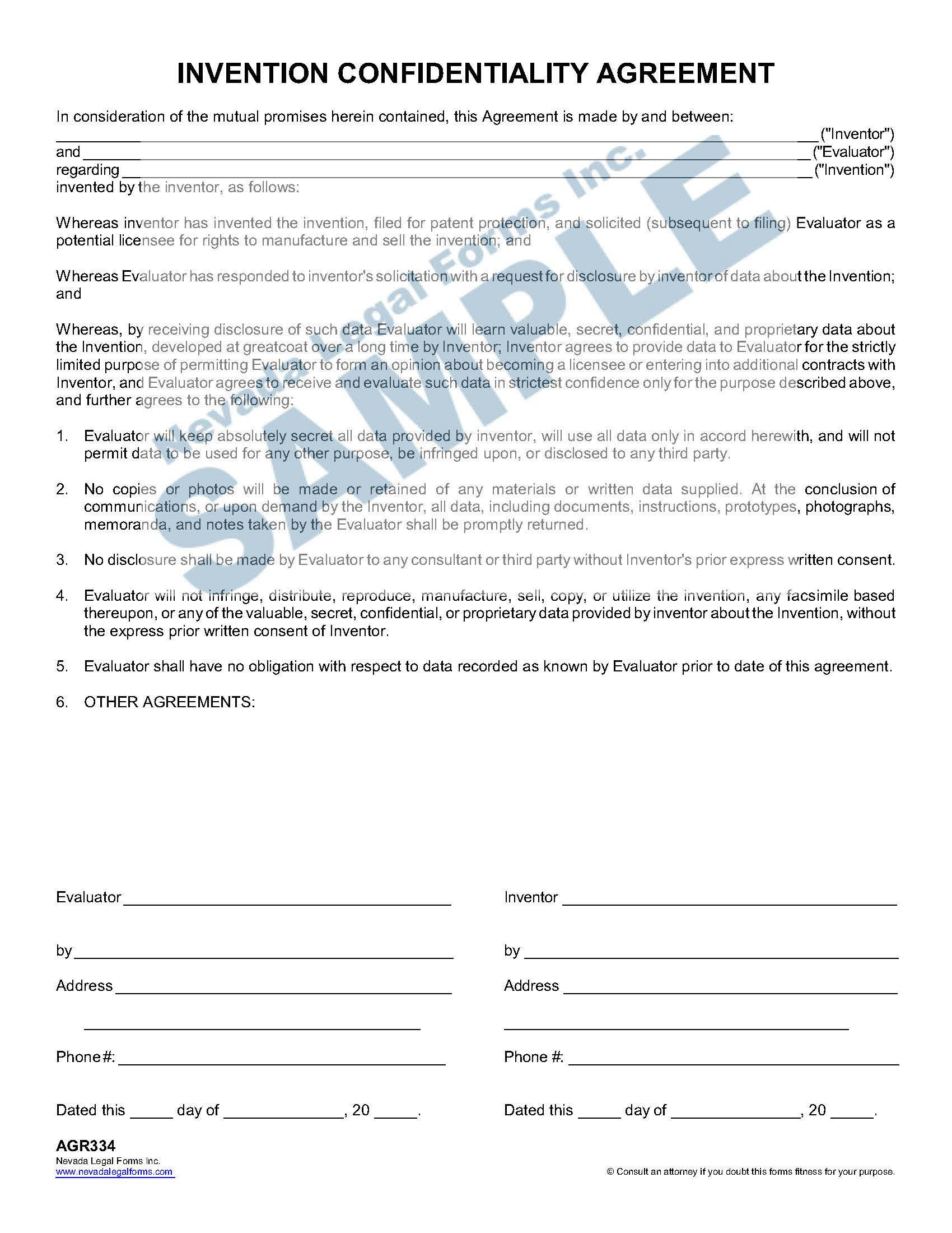 Invention Confidentiality Agreement