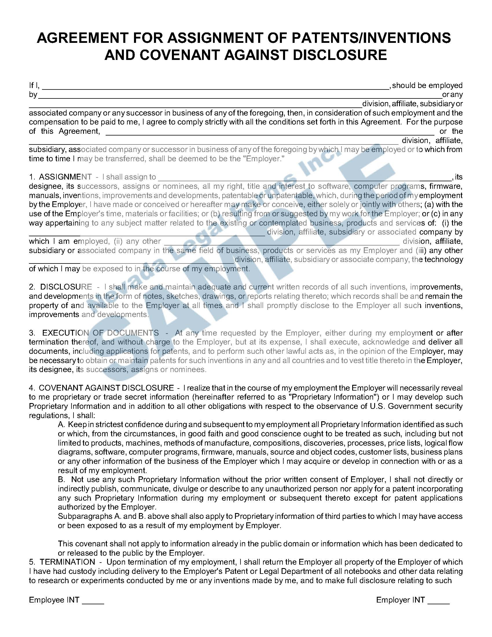 Agreement For Assignment Of Patents Inventions And