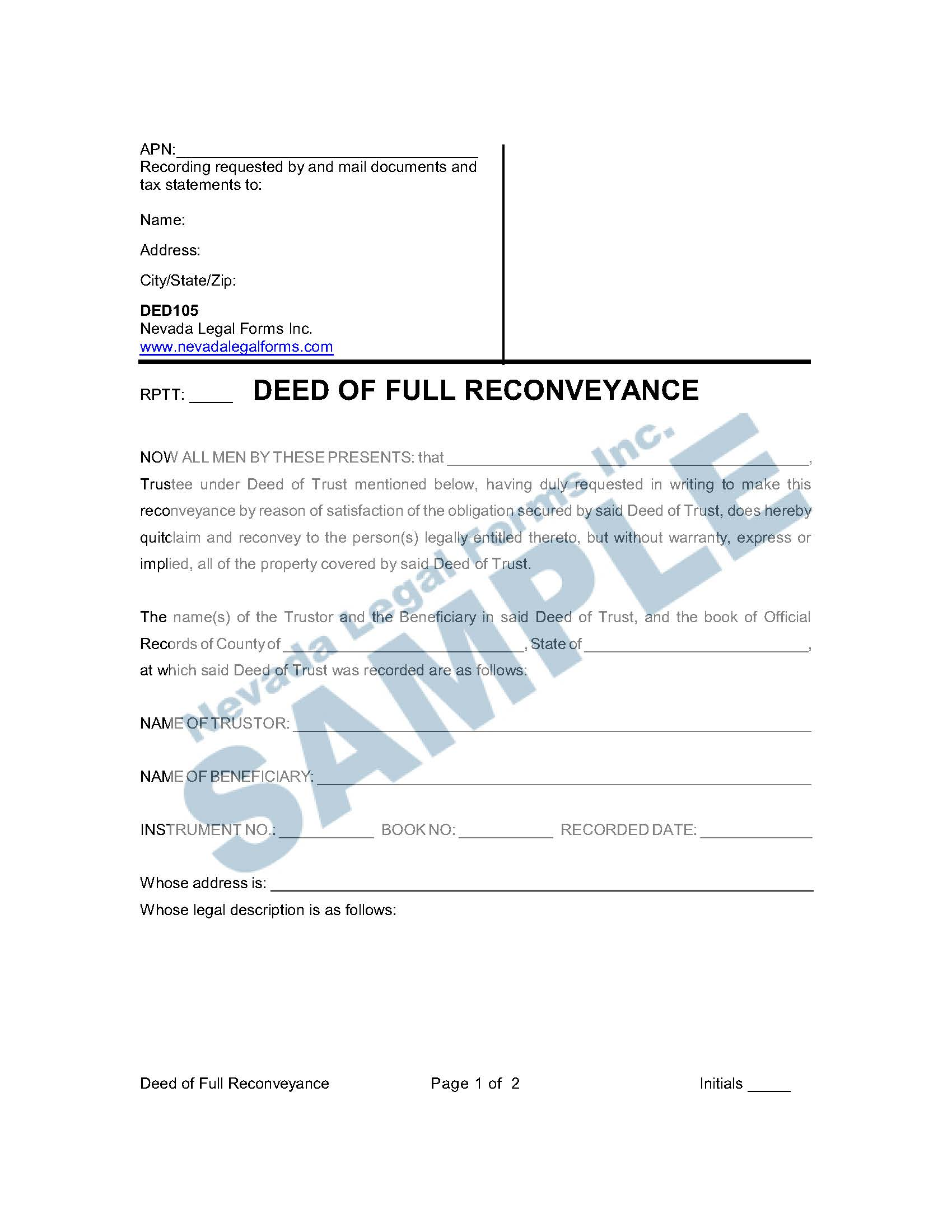 Deed Of Full Reconveyance
