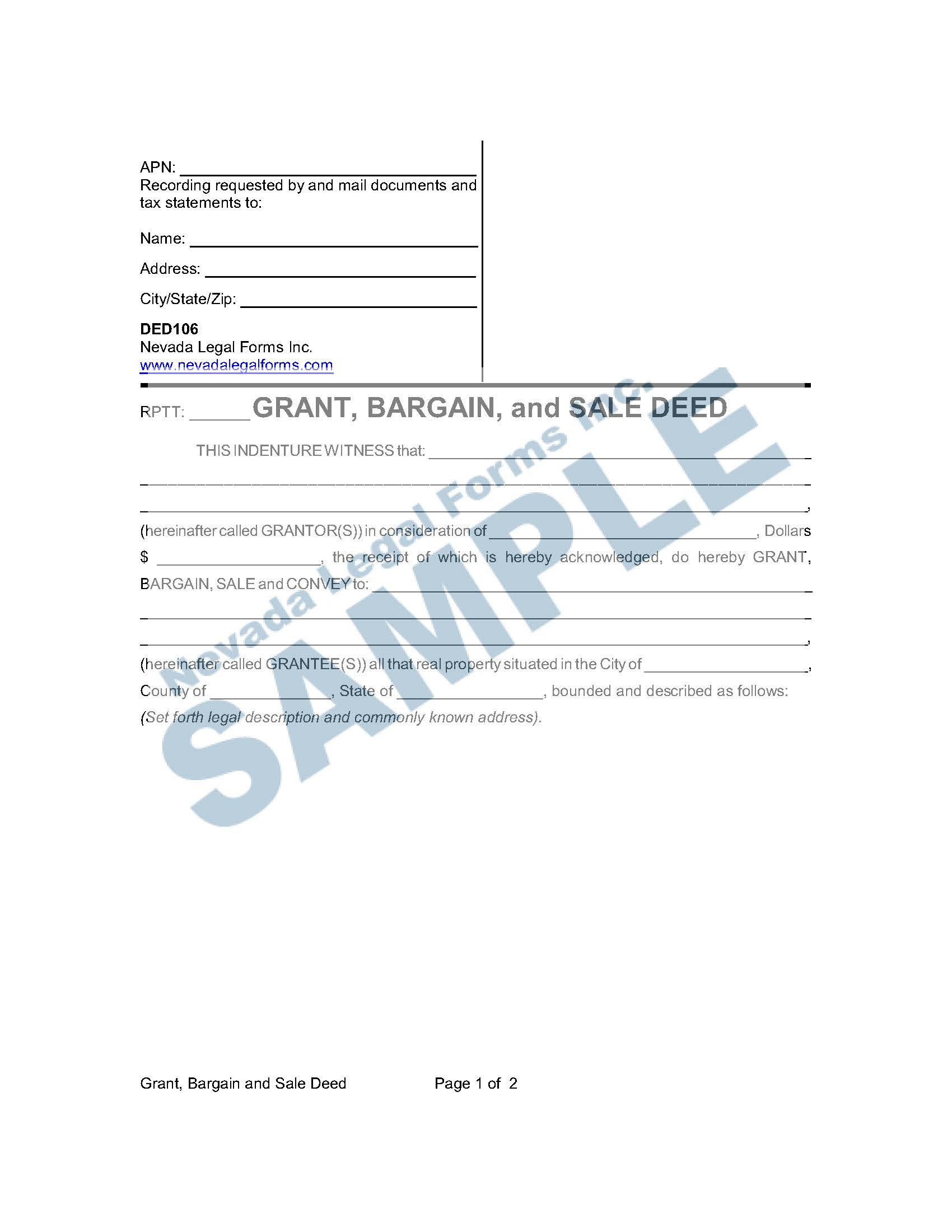 Grant Bargain And Sale Deed