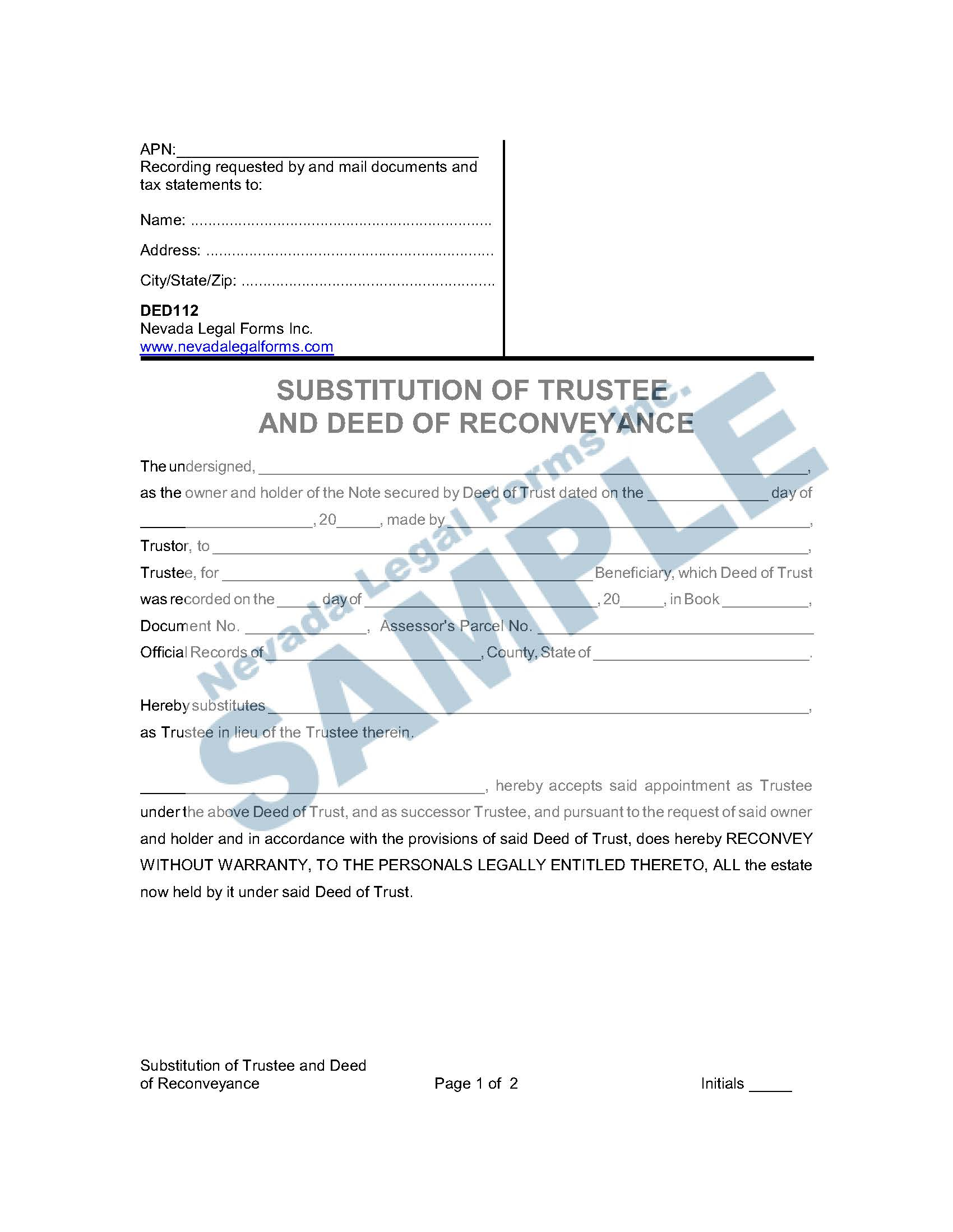 Substitution Of Trustee And Deed Of Reconveyance