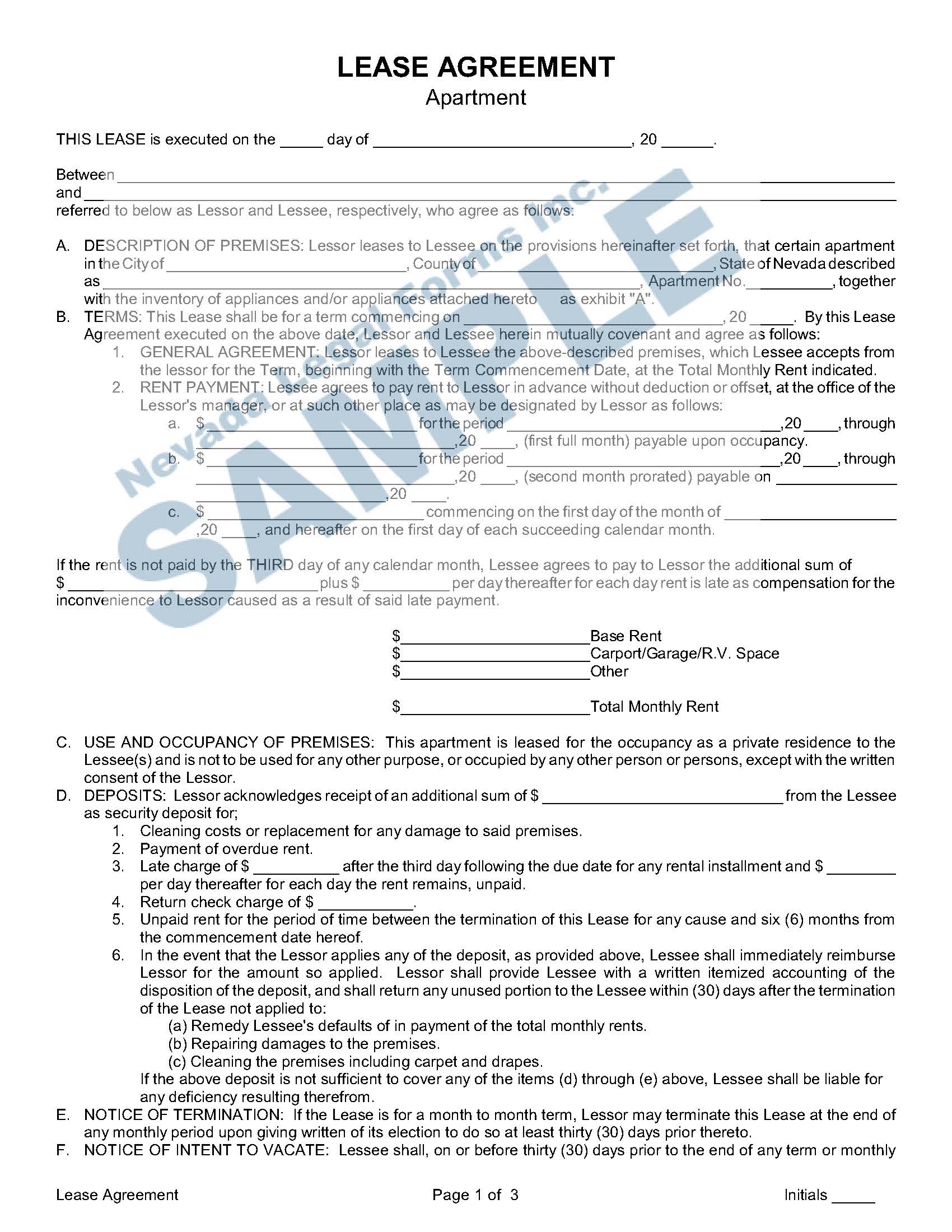 Lease Agreement Apartment