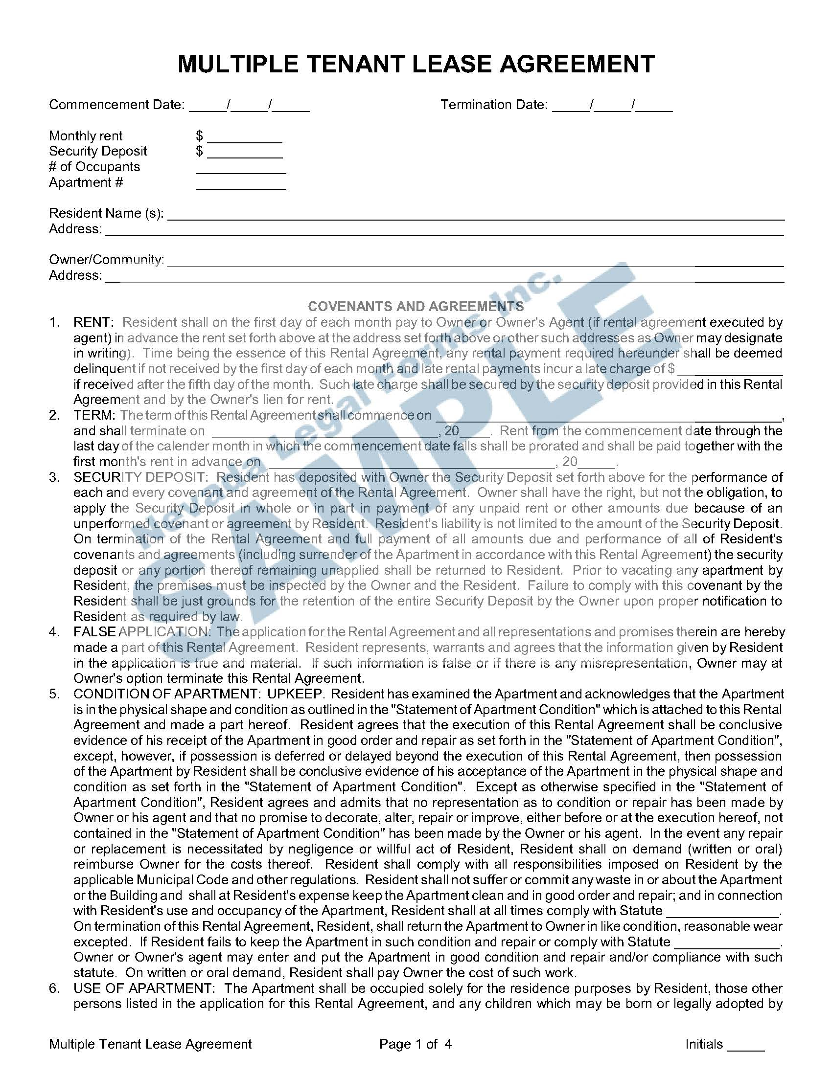 Multiple Tenant Lease Agreement