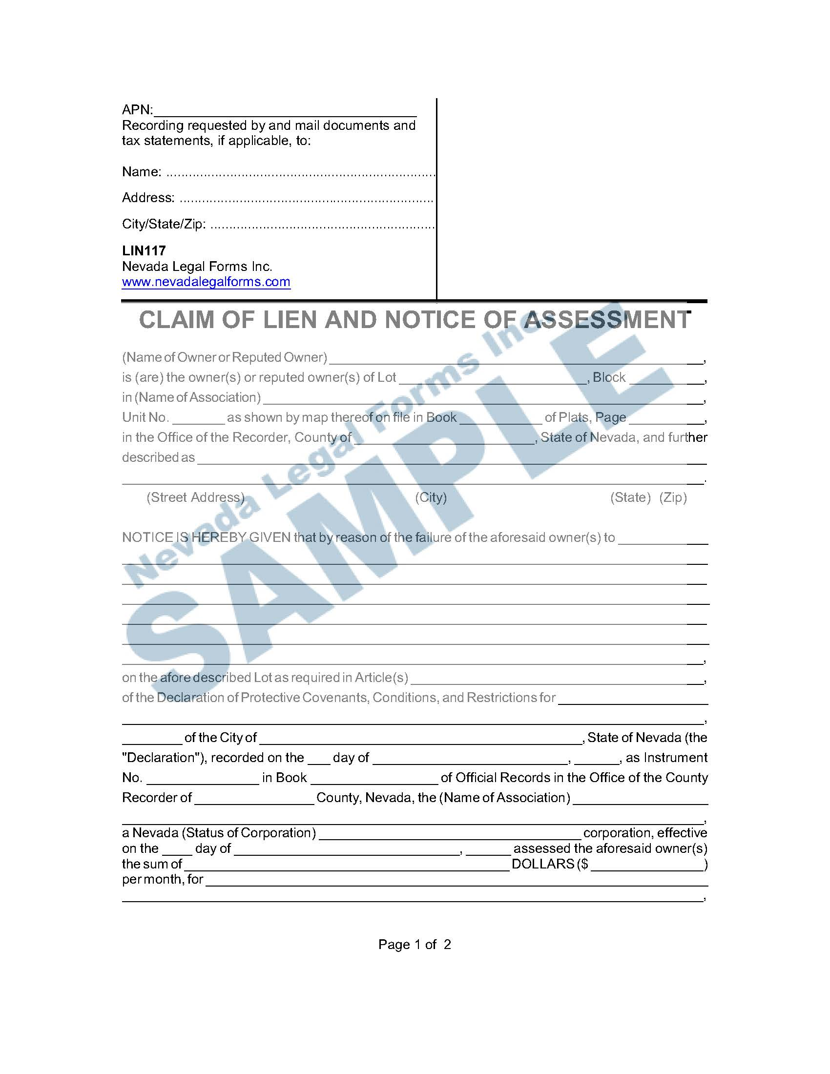 Claim Of Lien And Notice Of Assessment