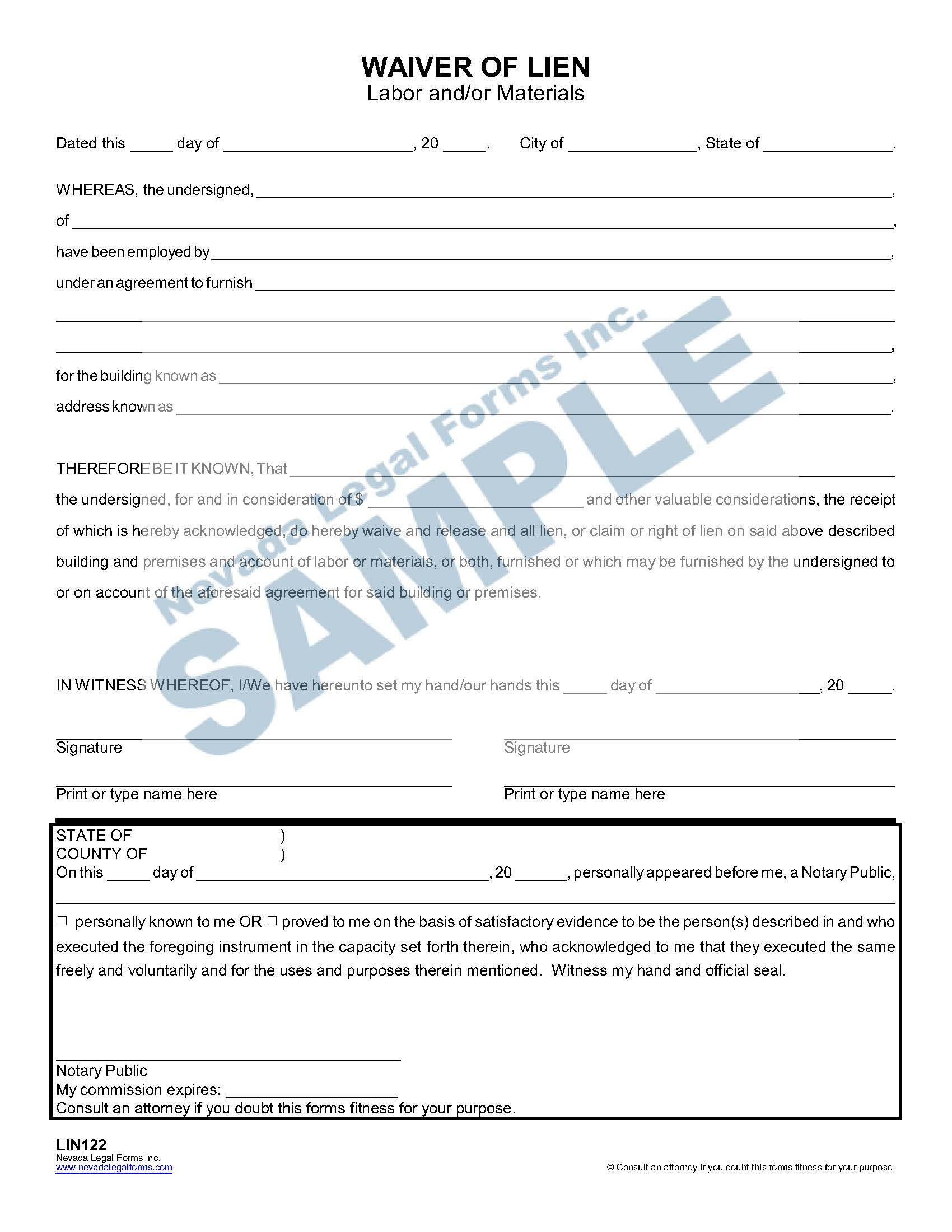 Waiver Of Lien Labor And Or Materials