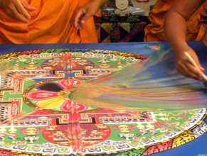 Destroying Tibetan sand paintings
