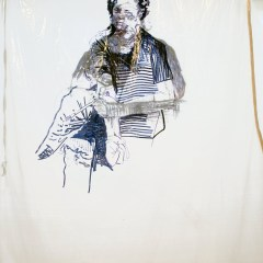 Rembrandt & Goya Share a Fix // Permanent Marker on Polyurethane sheet // 4 x 3 m // 2009