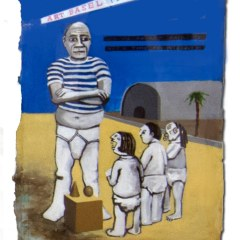 Picasso gets a bit of grief from the judges at the sand sculpture workshop // Acrylic on Paper // 60 x35 cm // 2014