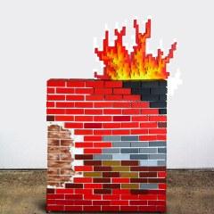 The Great Fire Wall of China // Wood, Acrylic Paint, Screws, Glue, Castor Wheels, Money Plant, Digital Prints: President Hu Jintao & Infowars Web Address // 200 x 120 x 40 cm // 2012