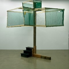 GM# 29: DARWINIAN TREE OF KNOWLEDGE // Wood, Screws, Acrylic Paint, Builders Wind Breaker, Metal Hooks // 400 x 400 x 320 cm // 2009