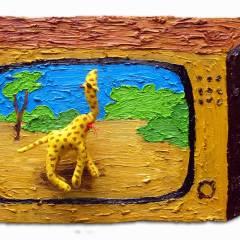CH.3: San Soliel // Oil on MDF, Stuffed Giraffe, Plastic & Wire // 31 x 46 x 6 cm // 2001