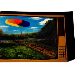 CH.88: UFO Disguised as a Pie Chart // Oil & Acrylic on MDF // 46 x 72 cm // 2007