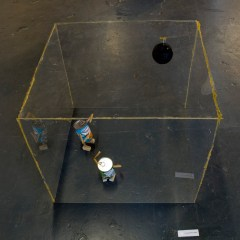 The Chuckle Brothers go Clubbing // Perspex. Glue Sticks, Wood, Black Mirror Ball, Batchelor's Peas & Bean Cans // 70 x 70 x 50 // 2010
