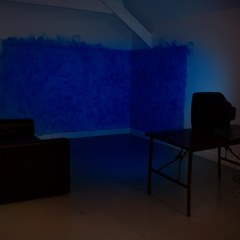 Finger Painted Blue Screen // Acrylic Paint, Table, TV // Dimension Variable // 2011