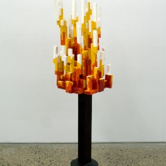 GM# 33: BURNING TETRIS BUSH // Wood, Glue, Screws, Acrylic Paint, Concrete, Varnish // 120 x 45 x35 cm // 2009