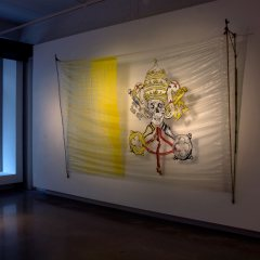 Pirates of the Holy Sea // Polyurethane, Paint Marker, Packaging Tape, Nylon Cord, Bamboo // 180 x 300 cm // 2010