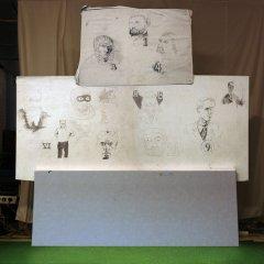 The German 11 // Paintaholics #1 // Wood, Carpet, Canvas, Pencil // 240 x 240 x 30 cm // 2006