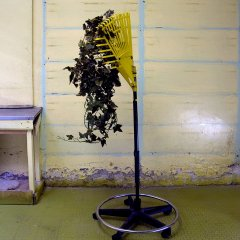 Rake Weed // Rake, Office Chair Base, Plastic Ivy, Tie Wraps, Tape // 50 x 200 x 50 cm // 2008
