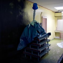 Manna Mountain // Plastic Swimming Pool Floor Stands, Polyurethane, Bucket, Cat Cut, Tinfoil, Tinsel // 120 x 250 x 120 cm // 2008
