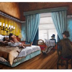Sleeping with the Enemy. Michael Collins enjoys a little cuddle with Mona Llewelyn Davis (Lloyd George's Secretary) with an MI5 Chaperone taking shorthand during a recess in the Treaty Negations whilst Kathleen Ni Lavery looks on the proceedings with Scorn // John Lavery, 1856-1941 // Acrylic on Canvas // 45x60cm // 2015