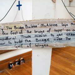 Mary the Job Bridge Builder Mac Lease // Wood, Screws, Wire, Paint, Permanent Marker, Hemp Rope, Grumpy Marx Work Sash, Digital Print // Span Dimensional // 2005