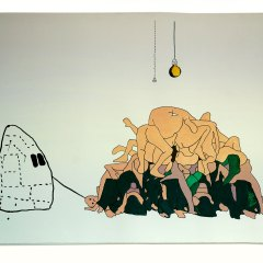 Guston's Ghost brings the Arab-American Mountain for a Walk // Ink & Gouache on Paper // 110 x 85 cm // 2006