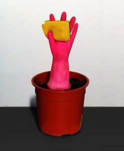 Fruits of Labour // Plant Pot, Wood, Plaster, Soil, Glove, Pot Scrubber // 25 x 25 x 45 cm // 2005