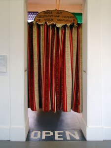 Throwing in the Curtains // Curtains, Wood, Permanent Marker // 220 x 120 cm // 2005