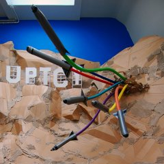 Refracted Revolutionary Rainbow // Wood, Screws, Cardboard & Tubing, Electrical Piping, Tape // Viral Dimension // 2011