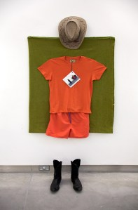 Robert Rauschenberg Was a Republican: New Uniform for Ground Staff of Shannon Sovereign Duty Free Airport, Designed by Paul Costsolow // Wool Blanket, Cowboy Boots & Hat, Sunglasses, Laminated Digital Print // 200 x 120 x 30 cm //2016