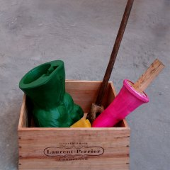 Assortment of Revolutionary Props // Hulk Hand, Broom Stick, Bone, Wood, Glue, Rubber Glove, Plaster, Kitchen Sponge, Champagne Box // 50 x 45 x 30 cm// 2006